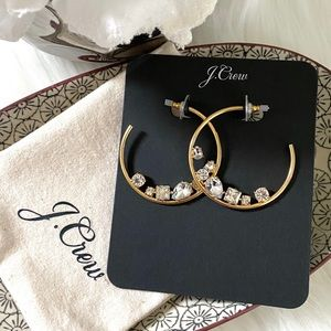 NWT J. Crew Crystal cluster hoops gold HOLIDAY